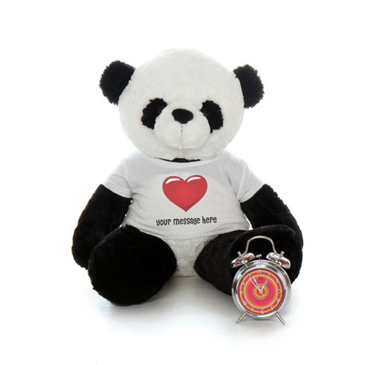 Personalized Heart T-shirt Panda Teddy Bear with your Custom Message