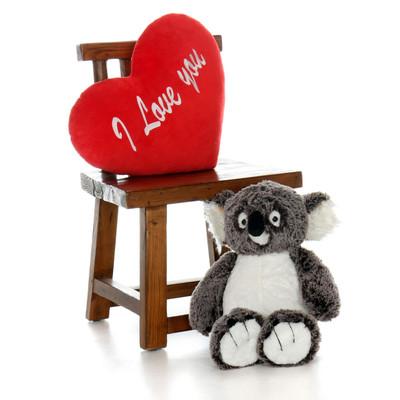 20 inch Koala Bear with I love You Heart Pillow