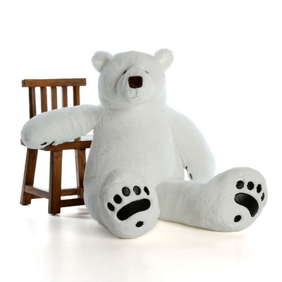 Large Stuffed Polar Bear with Leather Paws