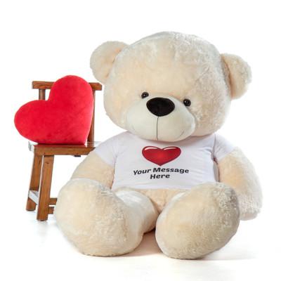 6 Foot life size softest Personalized Teddy Bear Vanilla Cream Cozy Cuddles Red Heart Shirt