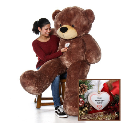 5 Foot LifeSize Personalized Giant Teddy Bear with Christmas Ornament