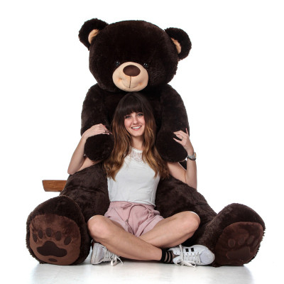 Super Soft 6 Foot Giant Teddy Bear with Big Paw Prints in Chocolate Brown
