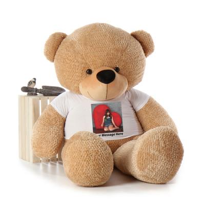 Giant 6 Foot Life Size Teddy Bear with Custom Photo T-shirt