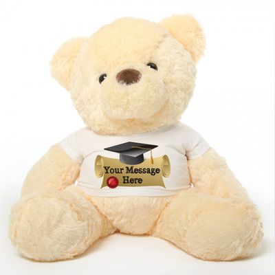 3ft Cream Graduation Teddy Bear Smiley Chubs