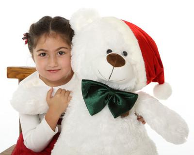 27in White Christmas Teddy Beard Waldo Holiday Shags