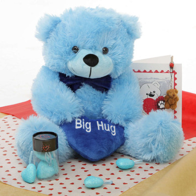 He Loves Me Blue Teddy Bear Hug Care Package 18in