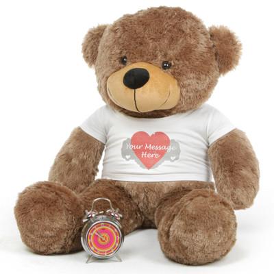 38in Sunny Cuddles Mocha Brown Teddy Bear with Heart Print T-shirt