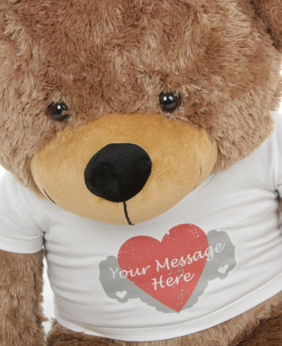 Sunny Cuddles Mocha Personalized Teddy Bear with Heart Print T-shirt