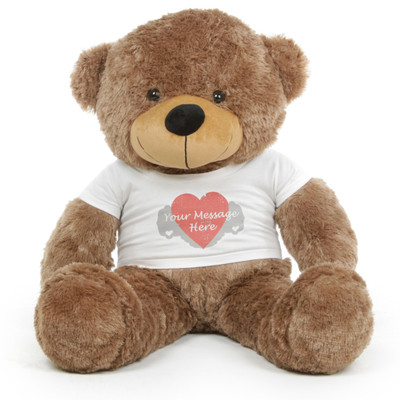 3ft Personalized Teddy Bear with Heart Print T-shirt Sunny Cuddles