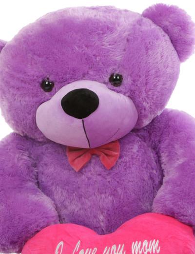 48in DeeDee M Cuddles Lavender Purple Teddy Bear with I Love You Mom Heart