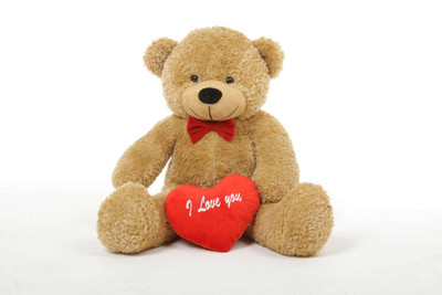2.5ft Amber Shaggy Cuddles Teddy Bear with I Love You Heart
