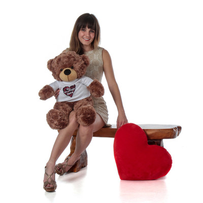 Super Soft Brown Teddy Teddy Bear Personalized with Heart T-shirt