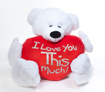 """Paw Mittens big teddy bear with """"I Love You This Much"""" heart shaped pillow option."""