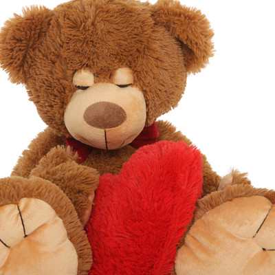 Chestnut Brown Teddy Bear Chester Mittens with Red Heart Pillow