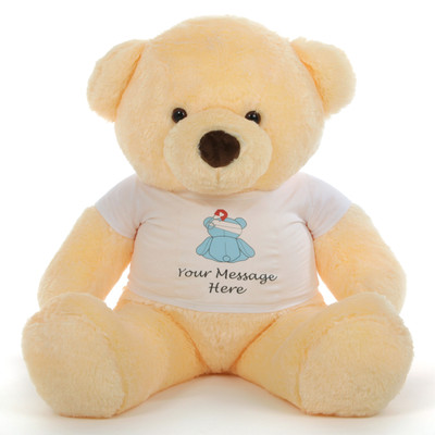 4 ft. Giant Vanilla CreamTeddy bear with your personalized 'Feel Better' message