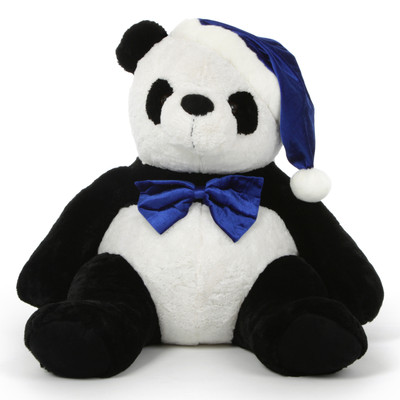 Stuffed Panda with Christmas Hat and Bow