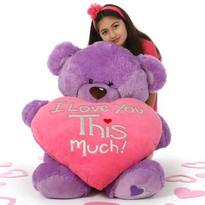 3 ft Purple Valentine's Day Teddy Bear Sewsie Big Love – She loves you THIS Much!
