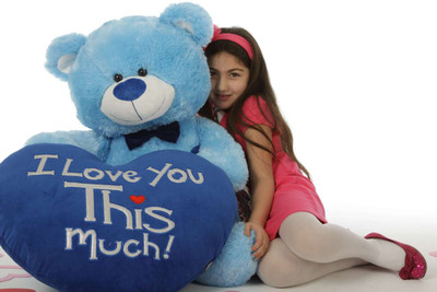 "Marty Shags with a huge ""I Love You This Much!"" royal blue plush heart – 48in (She Love Me)"