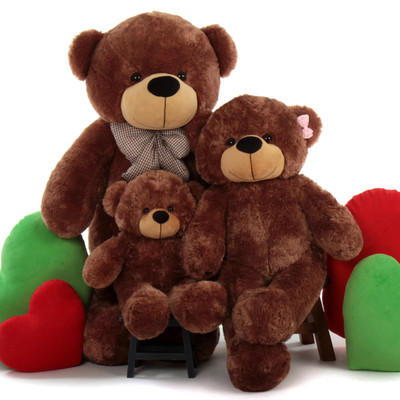 Three Bears, Papa Bear, Mama Bear, Baby Bear, Mocha Sunny Family of Giant Teddy Bears
