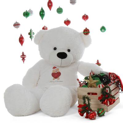 5ft Merry Christmas  Life Size Extra huggable White Teddy Bear Coco Cuddles