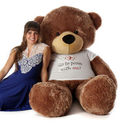 Special Go to prom with me Personalized 6ft Mocha Brown Teddy Bear Sunny Cuddles