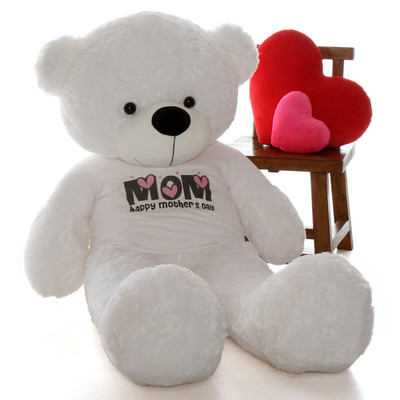 Huge Life Size 5ft Happy Mother's Day teddy bear white Coco Cuddles