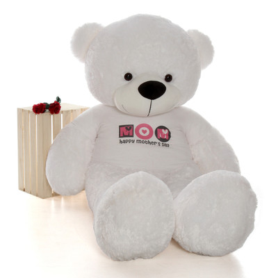 huge 72in white teddy bear wearing Happy Mother's Day shirt is a beary special gift
