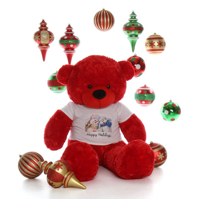 5ft Life Size Red Teddy Bear Bitsy Cuddles Happy Holidays