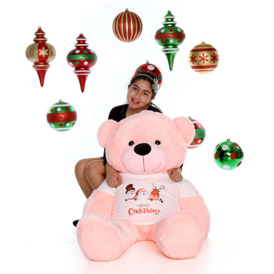 48in Pink Lady Cuddles Giant Teddy Bear with Merry Christmas T-Shirt