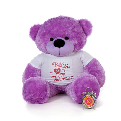 "4ft Huge Life Size Purple Valentine's Day Teddy Bear Dee Dee Cuddles wearing a ""Will You Be My Valentine?"" Shirt"