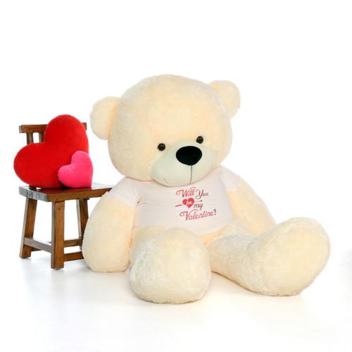 6ft Cozy Cuddles Vanilla Cream Giant Teddy in Valentine's Shirt