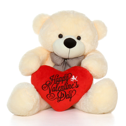 4ft Cozy Cuddles Vanilla Cream  Giant Teddy Bear w Red Heart Pillow