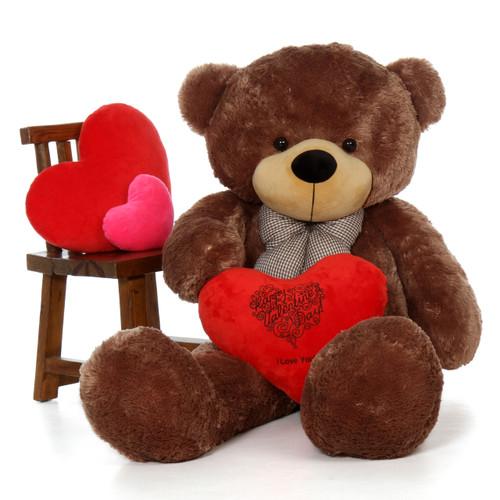 5ft Sunny Mocha Cuddles w Happy Valentine's Day I Love You Red Plush Heart