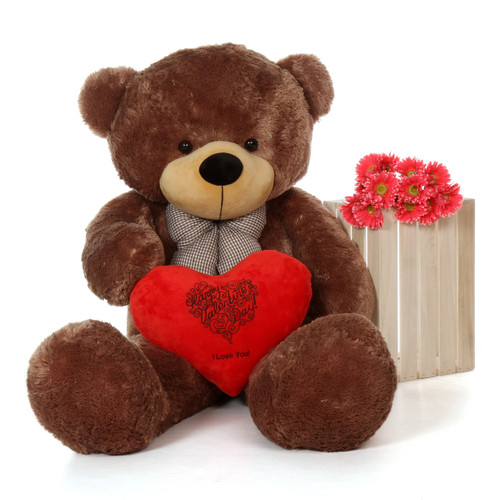 60'' Mocha Brown Giant Teddy Bear w Valentine's Day Heart Pillow