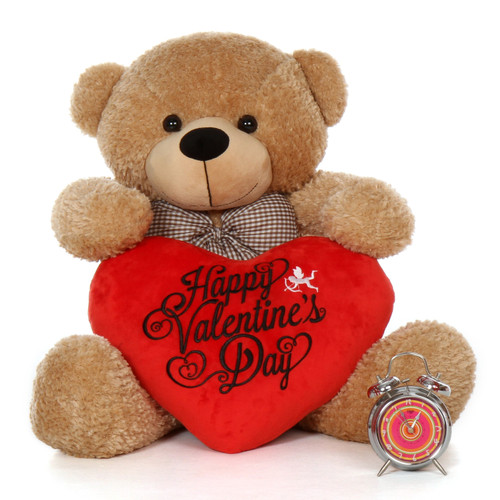 38in Oversized Teddy Bear Shaggy Cuddles Amber Brwon with Happy Valentine's Day Red Plush Heart Pillow