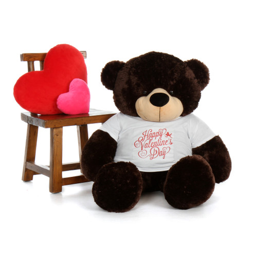 4ft Brownie Cuddles Chocolate Brown Teddy Bear in Happy Valentine's Day T-Shirt