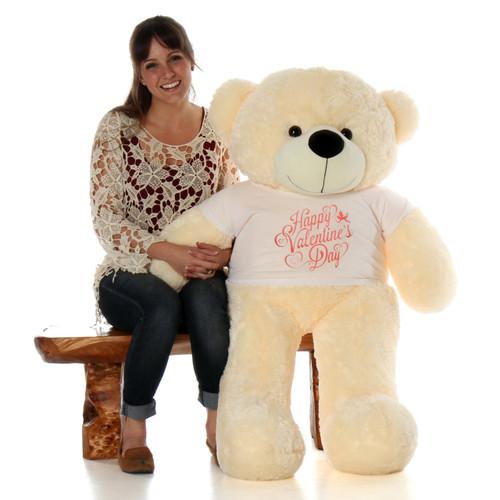 4ft Cozy Cuddles Vanilla Cream Huge Teddy Bear in Cute Happy Valentine's Day Shirt