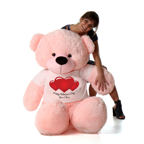 5 Foot Cotton Candy Pink Giant Teddy in Happy Valentine's Day Red Heart Shirt