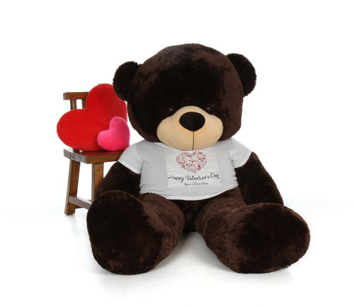 Chocolate Brown Teddy Bear with Happy Valentine's Day T-shirt