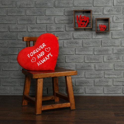 "Personalized Red Pillow Heart with ""Forever and Always"" Message"