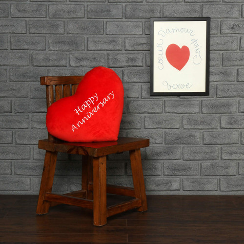 "Personalized Red Pillow Heart with ""Happy Anniversary"" Message"