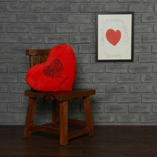 "Personalized Red Pillow Heart with ""I Love You"" Message"