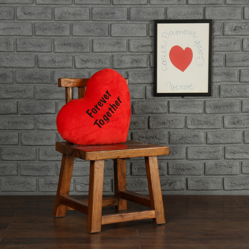 "Personalized Red Pillow Heart with ""Forever Together"" Message"