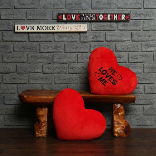 """Personalized Red Pillow Heart with """"He Loves Me"""" Message"""