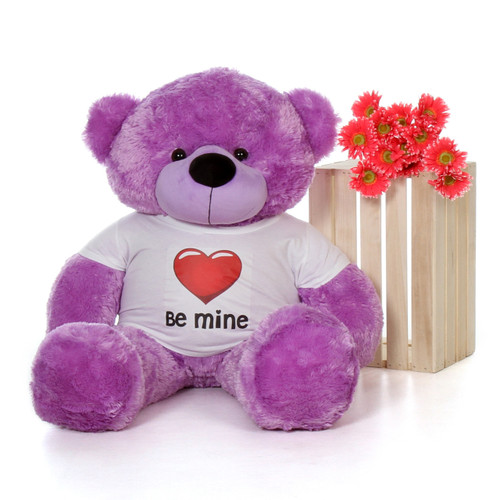 4ft Purpled DeeDee Cuddles Giant Teddy with a Be Mine Valentine's Day T-Shirt