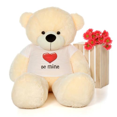 5ft Cozy Cuddles Vanilla Cream Giant Teddy Bear in Be Mine T-Shirt