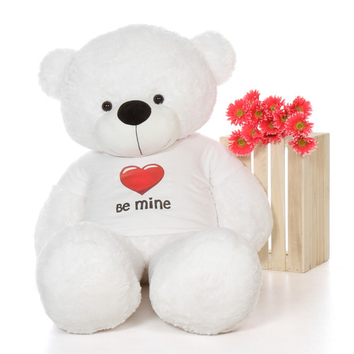 5ft White Coco Cuddles Giant Teddy Bear in Be Mine T-Shirt