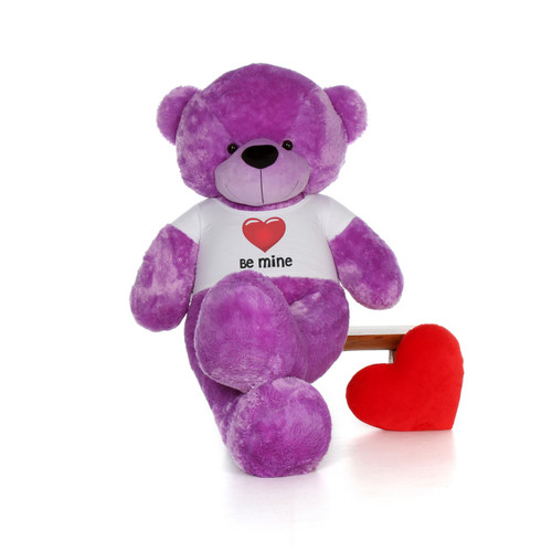 "72"" Purple DeeDee Cuddles by Giant Teddy in Be Mine Valentine's Day T-Shirt"