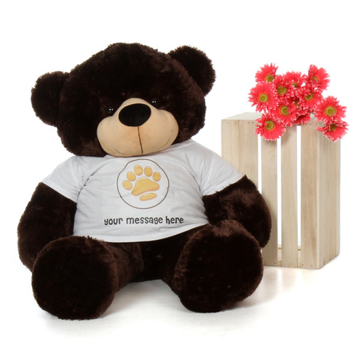 48in Brownie Cuddles Chocolate Giant Teddy Bear in Valentine's Day Paw Stamp T-Shirt
