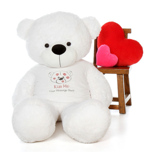 5ft Coco Cuddles White Teddy in Valentine's Day Kiss Me Shirt